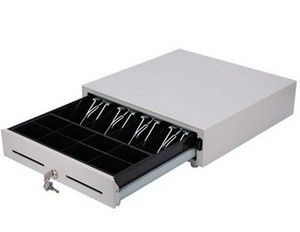 White POS / ECR Manual Cash Drawer , Portable Lockable Cash Box With Slot